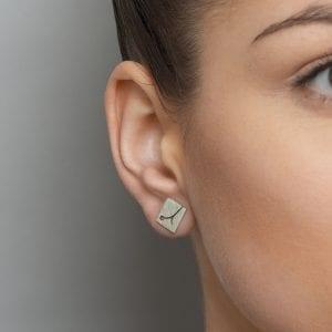 Silver Blossom Square Stud Earrings DesignYard