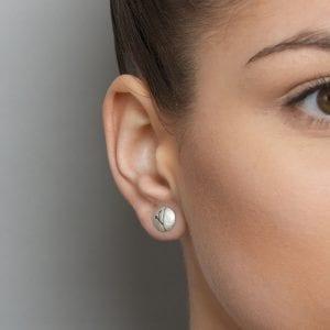 Silver Blossom Round Stud Earrings DesignYard