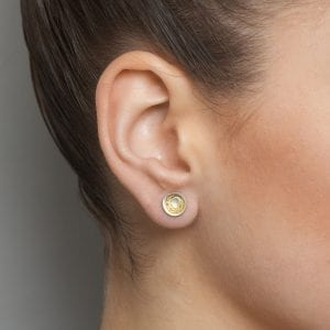 Silver and Yellow Gold Etched Earrings DesignYard