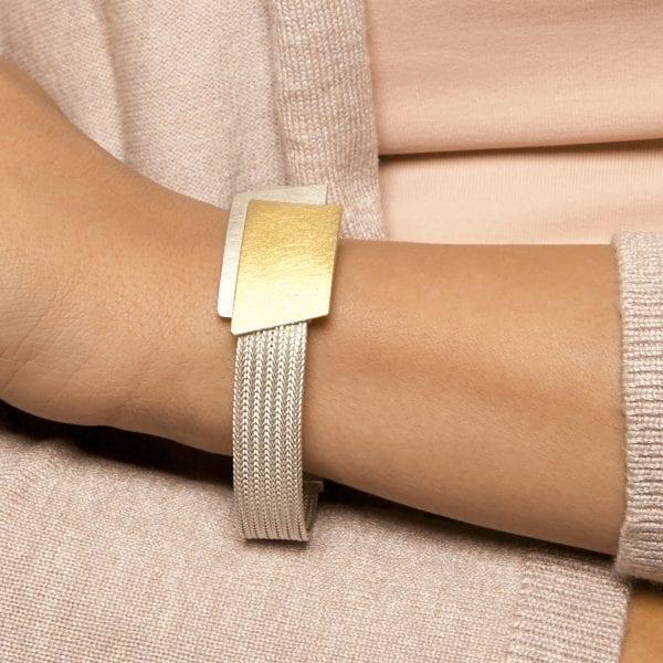 Sterling Silver 22k Yellow Gold Bi-Metal Perspective Bracelet DesignYard