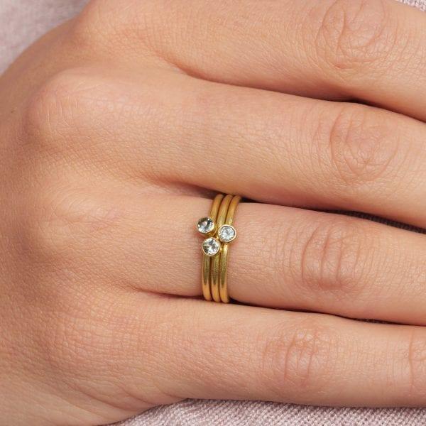 18k Yellow Gold Diamond Aquamarine Stacking Ring DesignYard Engagement Ring