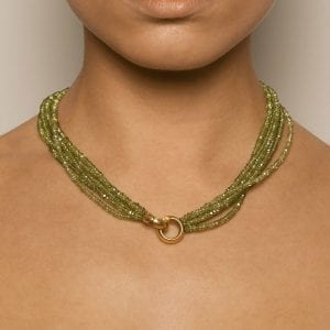 18k Yellow Gold Peridot Necklace DesignYard