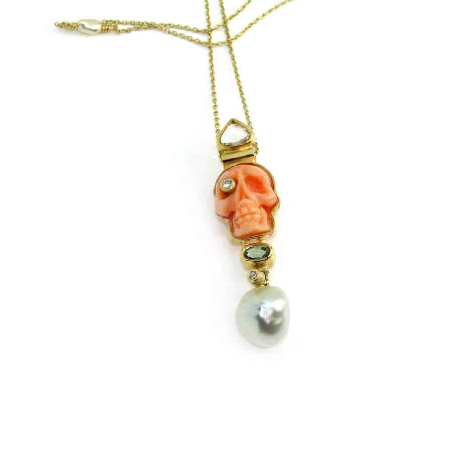 c11fb944aacec7 Jewellery, Necklaces • 18k 22k Yellow Gold Coral Pearl Diamond Skull ...