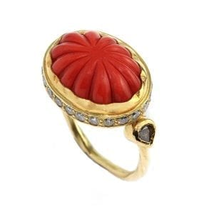 18k Yellow Gold Diamond Coral Ring DesignYard