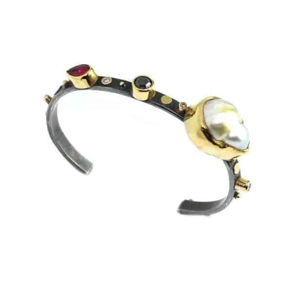 18k 22k Yellow Gold Silver Diamond Pearl Ruby Bracelet DesignYard