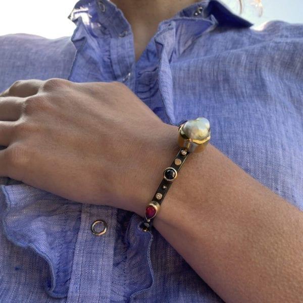 contemporary bracelet ruby diamond pearl gold silver josephine bergsoe designyard