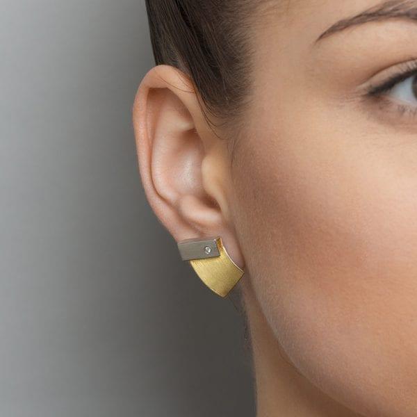 Sterling Silver 22k Yellow Gold Bi Metal Diamond Fold Earrings DesignYard