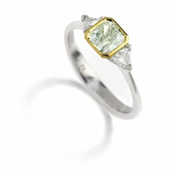 Platinum Green Diamond Engagement Ring DesignYard