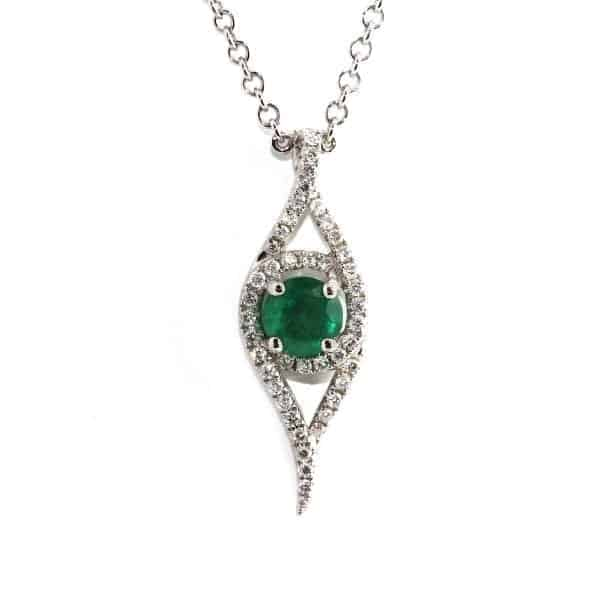 18k White Emerald Diamond Necklace DesignYard