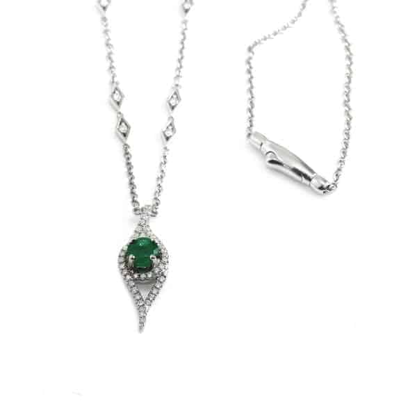 18k White gold Diamond Emerald Necklace DesignYard