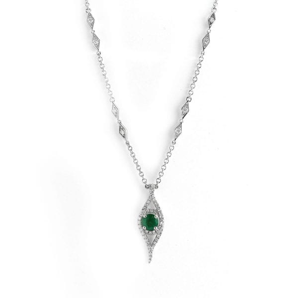 18k White Gold Emerald Diamond Necklace DesignYard