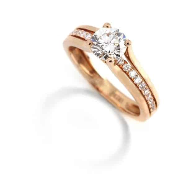 18k Rose Gold Diamond Engagement Ring DesignYard