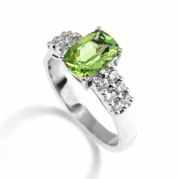 18k White Gold Peridot Diamond Engagement Ring DesignYard