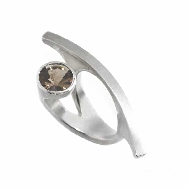 Sterling Silver Smoky Quart Laguna Ring DesignYard