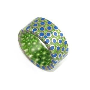 Silver Green Blue Resin Ring DesignYard