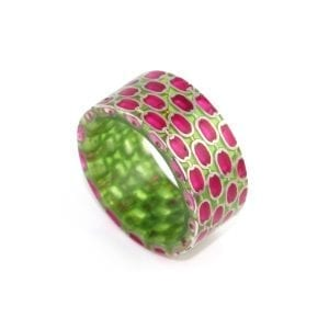 Silver Green Pink Resin Ring DesignYard