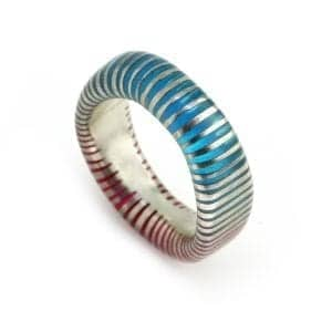 Silver Blue Pink Zebra Resin Ring DesignYard