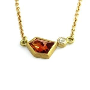 18K 22K YELLOW GOLD MANDARIN GARNET DIAMOND NECKLACE DesignYard