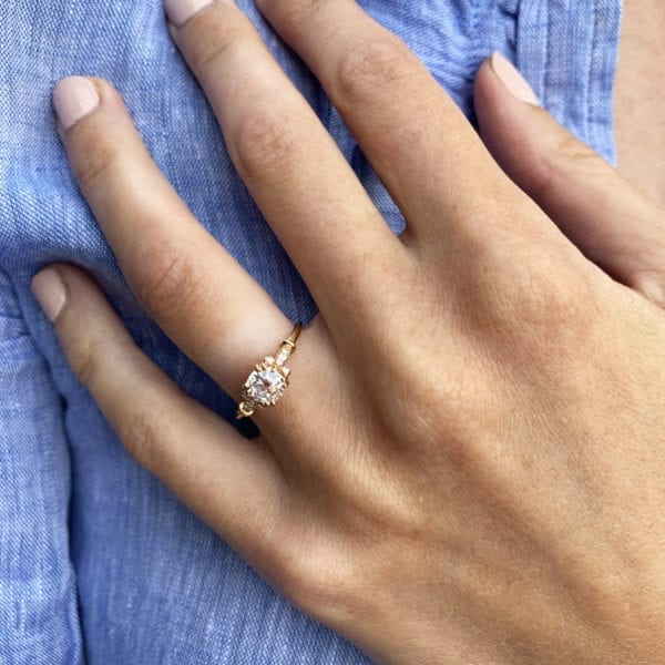 Ronan Campbell Rose Gold Old Mine Cut Diamond Engagement Ring Designyard