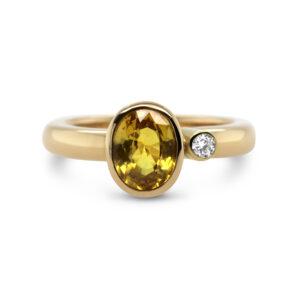friederike grace 14k yellow gold sapphire diamond ring designyard contemporary jewellery gallery dublin ireland handmade jewelry design designer irish jewellers shop
