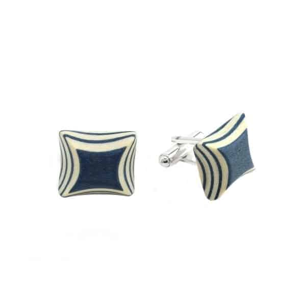 Ader and Dyed Blue Sycamore Wood Cufflinks DesignYard