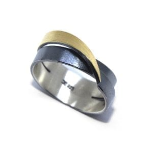 Oxidised Sterling Silver 22k Yellow Gold Bimetal Ring DesignYard
