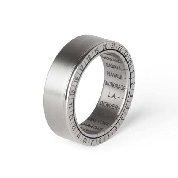 Titanium Girello World Time Ring DesignYard Wedding Ring