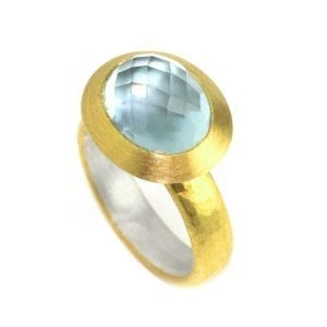 Sterling Silver 22k Yellow Gold Aquamarine Ring DesignYard