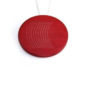 Sterling Silver Red Coloured Maple Wood Pendant with Silver Inlay DesignYard