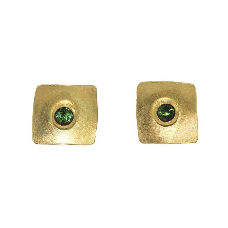 Gold Plated Sterling Silver 4mm Square Stud Earrings