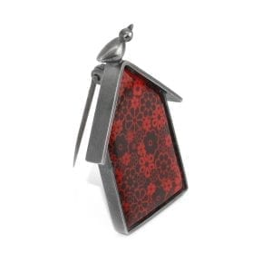 Sterling Silver Enamel Red House Brooch DesignYard