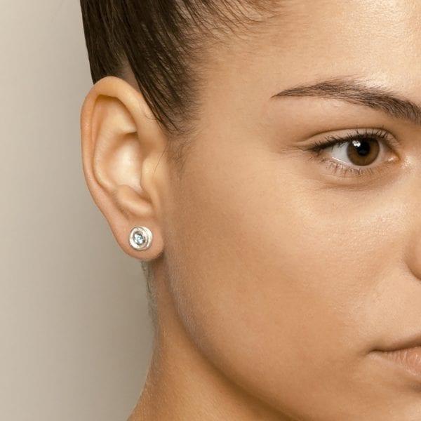 Sterling Silver Aquamarine Swirl Earrings DesignYard