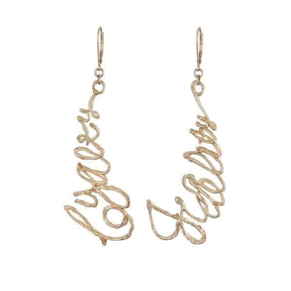 9k Yellow Gold Loyalty Fidelity Earrings DesignYard