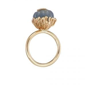 9k Yellow Gold Carved Sapphire Swallows Ring DesignYard