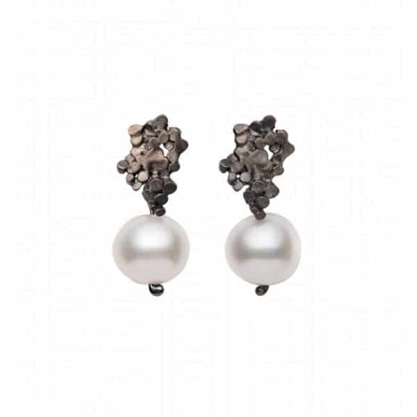Oxidised Silver Crown Pearl Earrings DesignYard