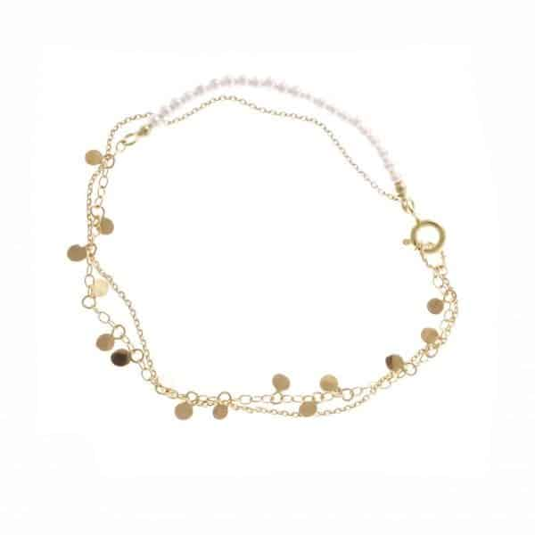 14k Yellow Gold White Pearl Leaf Bracelet DesignYard