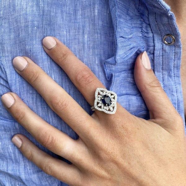 Ronan Campbell Sapphire Diamond Cluster Ring Designyard