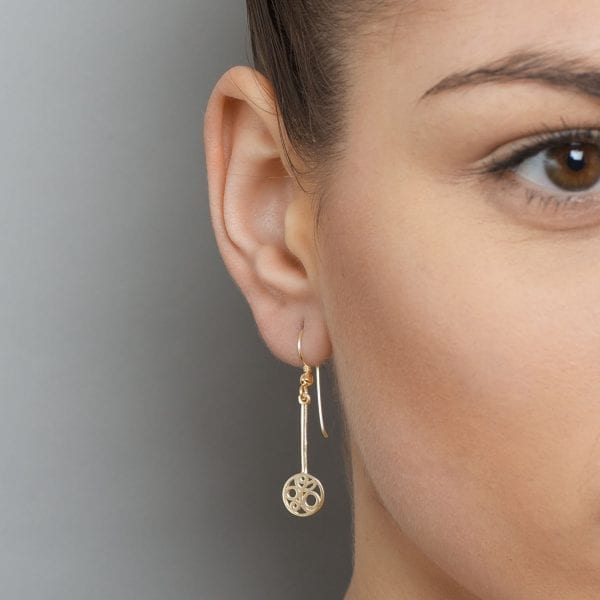 9k Yellow Gold Flow Long Drop Earrings