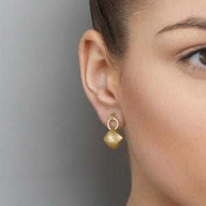 Yellow Gold Plated Silver Pillow Hoop Drop Earrings DesignYard