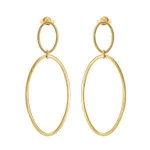 yellow gold plated silver double hoop cadence drop earrings designyard