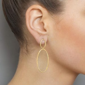 yellow gold plated silver double hoop cadence drop earrings designyard