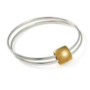 Silver Yellow Gold Plated Double Pillow Bracelet DesignYard