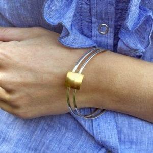 Contemporary Silver Gold Bangle Heather O Connor Designyard
