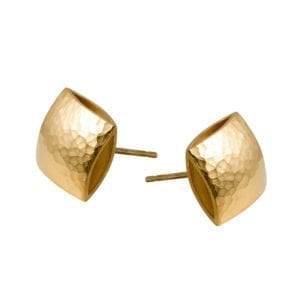 Yellow Gold Plated Textured Pillow Stud Earrings DesignYard