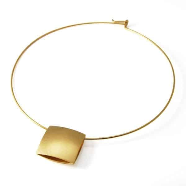 Yellow Gold Plated Wire Pillow Necklace DesignYard