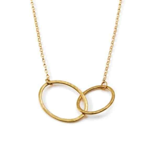 Yellow Gold Plated Oval Tangle Necklace DesignYard