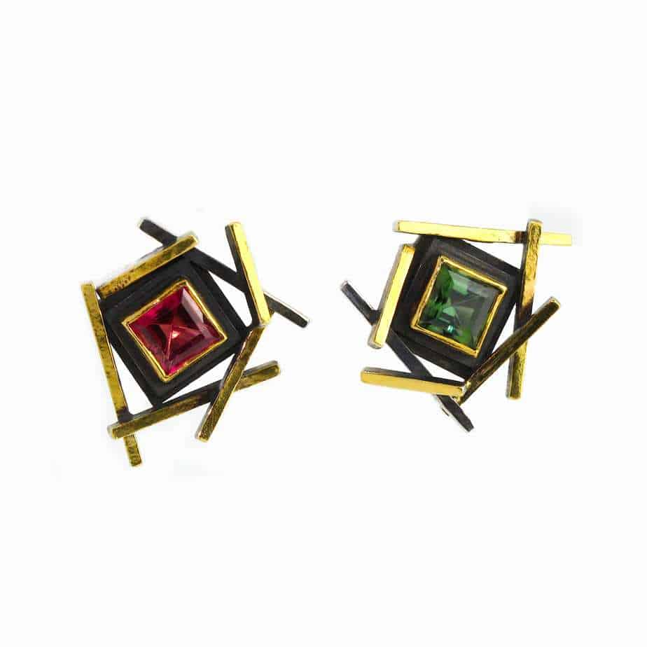 Sterling Silver 24k Yellow Gold Green And Pink Tourmaline Earrings