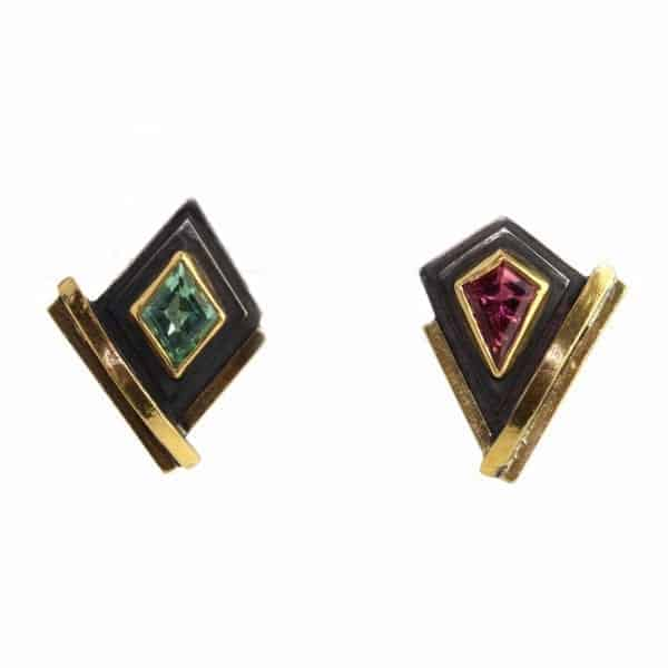Contemporary Earrings Silver Yellow Gold Tourmaline Barbara Bertagnolli Designyard