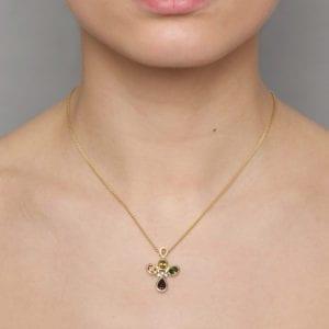 contemporary gold sapphire diamond tourmaline garnet necklace designyard friederike grace