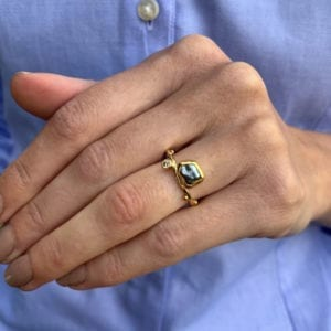 contemporary ring gold pearl diamond bergsoe designyard